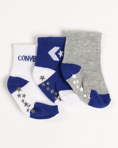 284eea3a958e Converse 3 Pack Baby Bootie Socks Blue