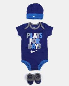 Nike Baby Babygrow Gift Set Royal Blue