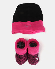 Nike Baby Beanie & Bootie Gift Set Vivid Pink