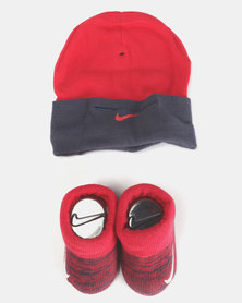 Nike Baby Beanie & Bootie Gift Set Thunder Blue/ Red