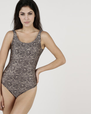 29a96e2d55 Euro Sun Trendy One Piece Lace With Gold Edging Multi
