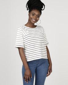 Bellfield Terry Stripe T-shirt Ecru/Navy