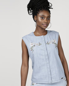 Bellfield Embroidered Sleeveless Top Pale Wash
