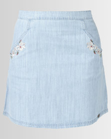 Bellfield Embroidered Skirt Pale Wash