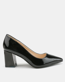 Utopia Patent Pointy Block Heels Black