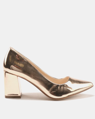 Utopia Pointy Block Heels Patent Rose Gold