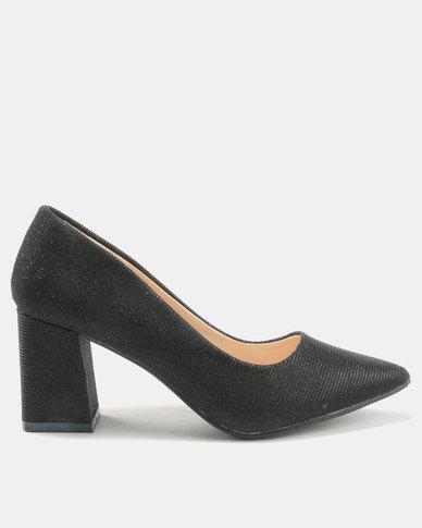 Utopia Glitter Pointy Block Heels Black