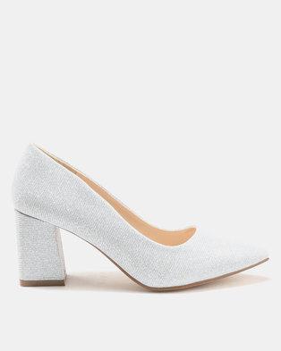 Utopia Glitter Pointy Block Heels Silver