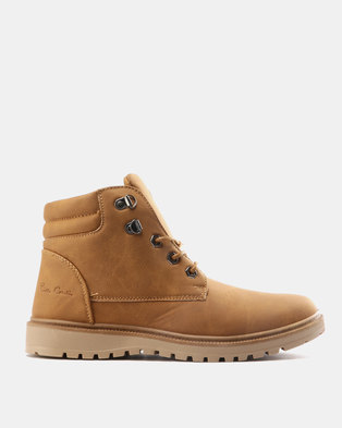 Pierre Cardin Mens Casual Lace Up Boots Tan