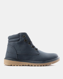 Pierre Cardin Mens Casual Lace Up Boots Navy