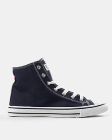 Pierre Cardin Mens Canvas Hi Top Sneakers Navy