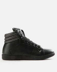 Pierre Cardin PU High Top Sneakers with Quilted Back Counter Black