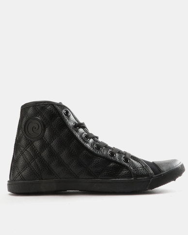 Pierre Cardin Quilted High Top Sneakers Black