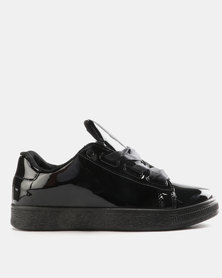 Pierre Cardin Patent Sneakers with Broad Laces Black