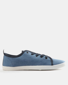 Pierre Cardin Basic Canvas Plimsoll Sneakers Denim Blue