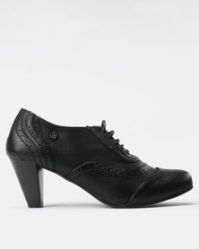 Pierre Cardin Snake PU Lace Up Town Shoes Black