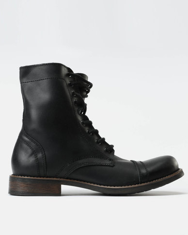 3b28dafc5df Steve Madden Troopah 2 Leather Lace Up Boots Black