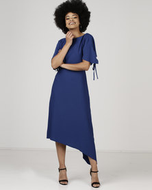 Revenge Short Sleeve Asymmetrical Dress Navy