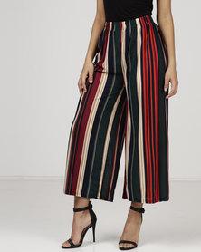 Revenge Vertical Stripe Trousers Red