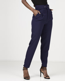 Sissy Boy High Waisted Belted Trousers Navy