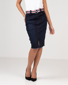 Sissy Boy Self Belt Denim Skirt Indigo