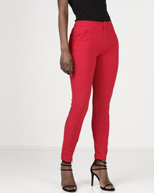Sissy Boy Zip Detail Skinny Trousers Red