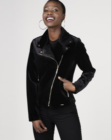 Sissy Boy Velvet Biker Jacket Black