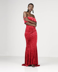 Sissy Boy Bardot Velvet Maxi Dress Red