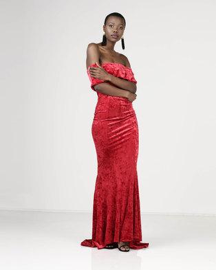 Sissy Boy Bardot Velvet Maxi Dress Red  6d230a550