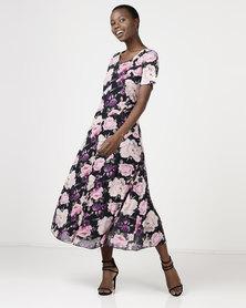 Queenspark Rose Delight Fit & Flare Knit Dress Black
