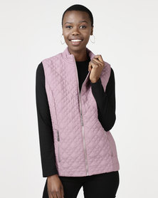 Queenspark Diamond Design Gilet Woven Jacket Pink
