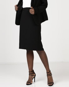 Queenspark Smart Piped Detail Woven Skirt Black