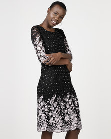 Queenspark Spot Flower Border Print Knit Dress Black