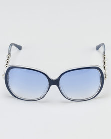 Queenspark Pearl Square Detail Sunglasses Blue
