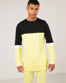 Unruly Colour Block Pullover Sweatshirt Yellow