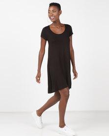 Brave Soul Short Sleeve Swing Dress Black