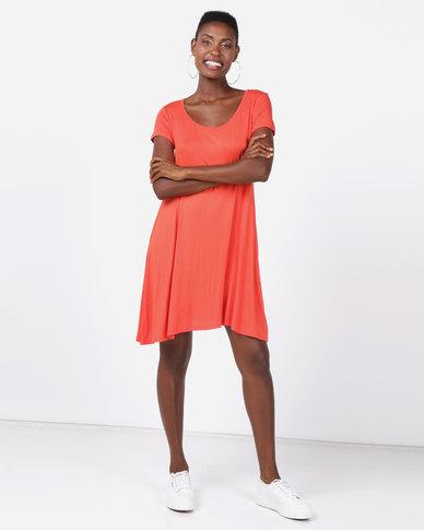 Brave Soul Short Sleeve Swing Dress Orange