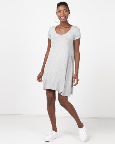 Brave Soul Short Sleeve Swing Dress Grey