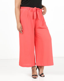 Brave Soul Cropped Woven Trousers Coral