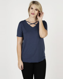 Brave Soul Cross Strap V Neck Tee Dark Denim