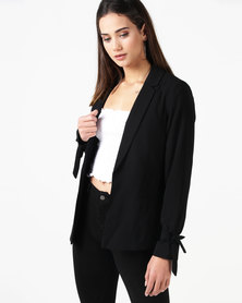New Look Tie Sleeve Blazer Black