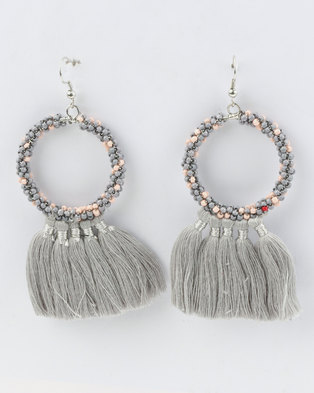 Joy Collectables Beaded Hoop Tassel Earrings Grey d4372e61b1bf