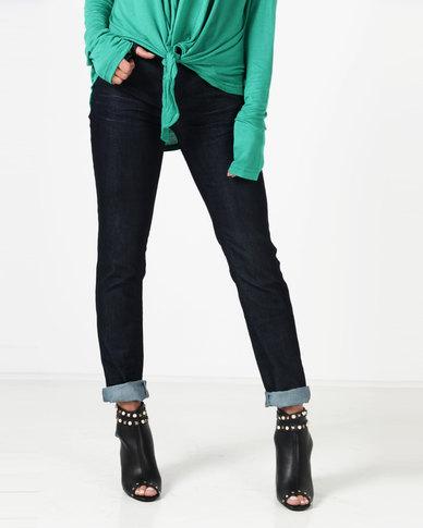 Utopia Slim Leg Jeans With Abrasion Dark Wash