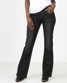Utopia Dark Wash Flare Jeans Black