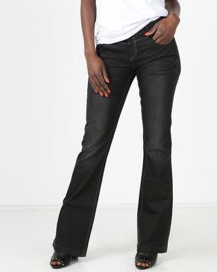 Utopia Dark Wash Flare Jeans Black