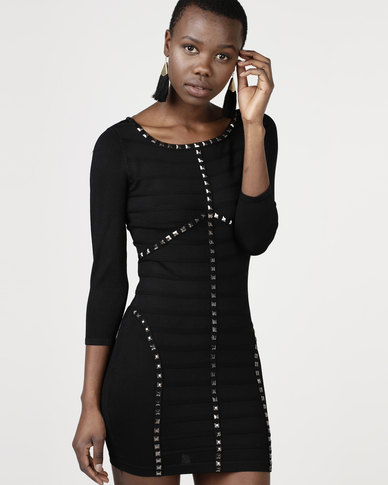 Utopia Knitted Bodycon Dress With Pyramid Studs Black