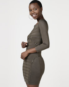 Utopia Knitted Bodycon Dress With Pyramid Studs Olive