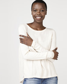 Utopia Oyster Knitwear Top With Pleated Back
