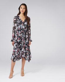 Forever New Margot Midi Dress Dark Based Print