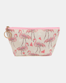 Lily & Rose Flamingo Cosmetic Bag White & Pink
